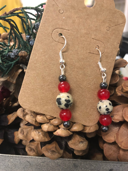 Red & Black Dapple Bead Earrings