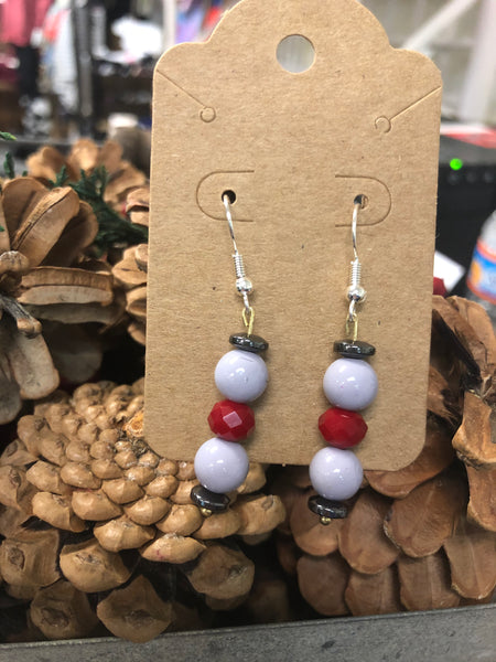 Lilac & Red Bead Earrings