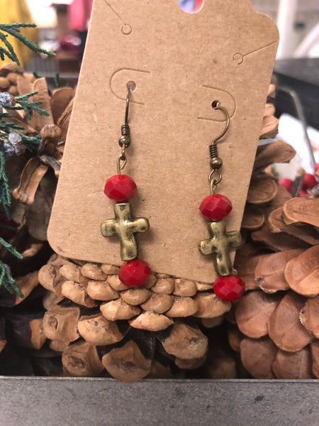 Bronze Cross Bead Earrings