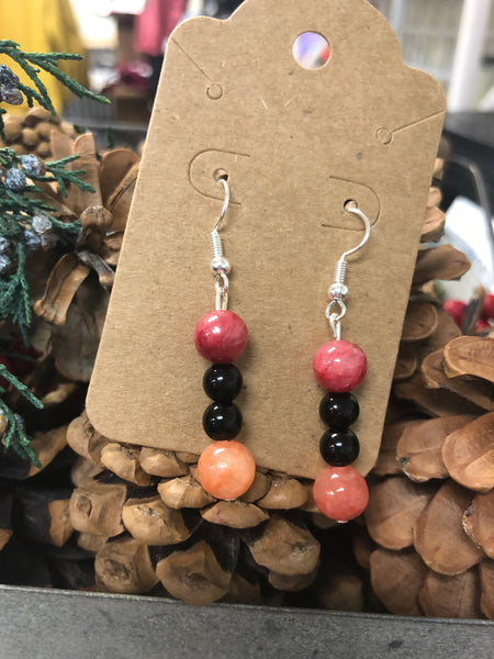 Pink & Black Bead Earrings