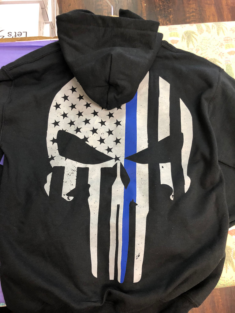 Youth Thin Blue Line Punisher Skull Pullover Hoodie