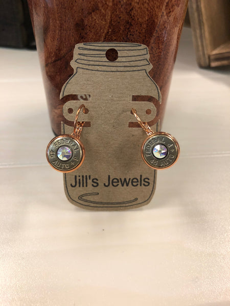 Copper Lever Back Bullet Earrings