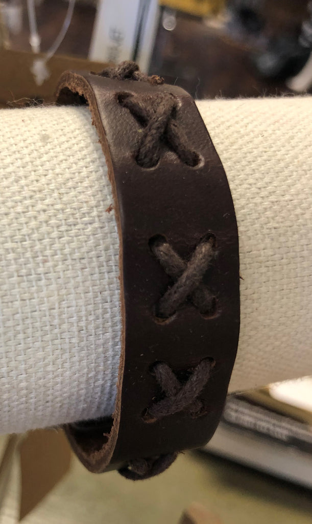 Leather Buckled Bracelet w/ Threaded Criss-Cross Designs