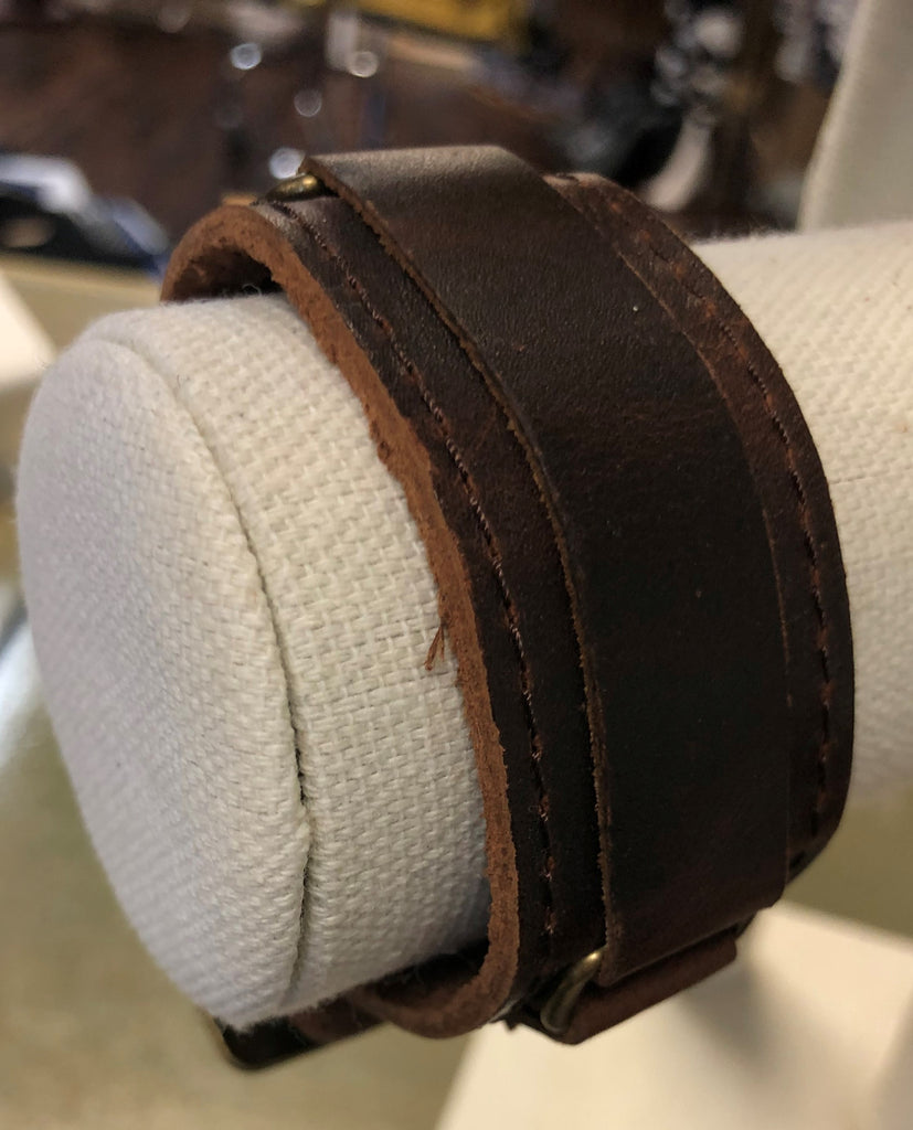 Wide Leather Bracelet with Buckle