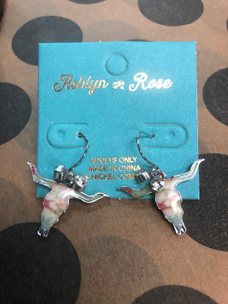 Floral Cattle Skull Earrings