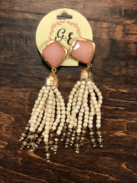 Pink Stud Tassel Bead Earrings