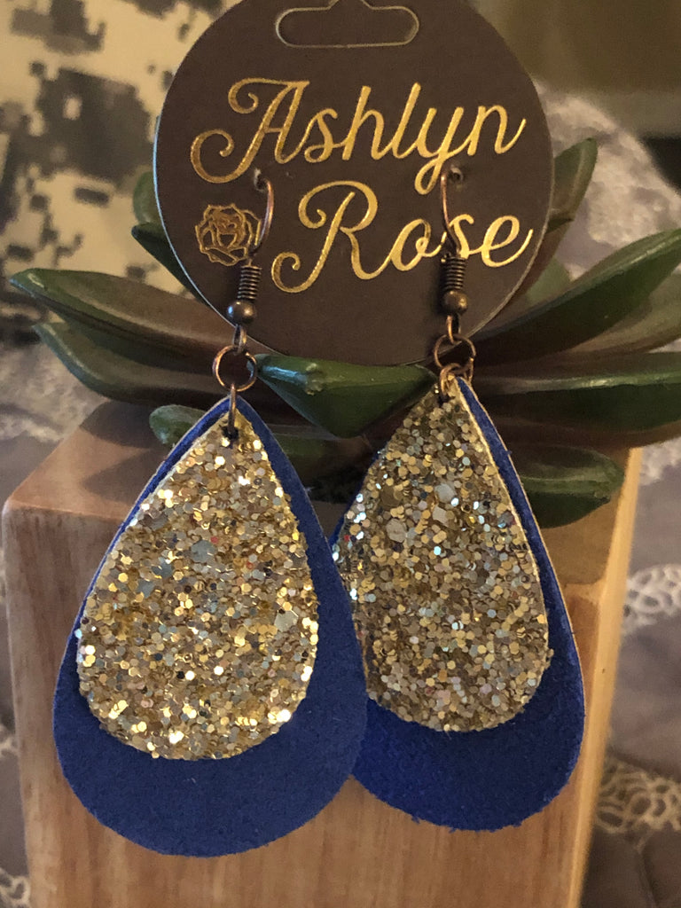 Medium 2-Tiered Glitter Teardrop Earrings