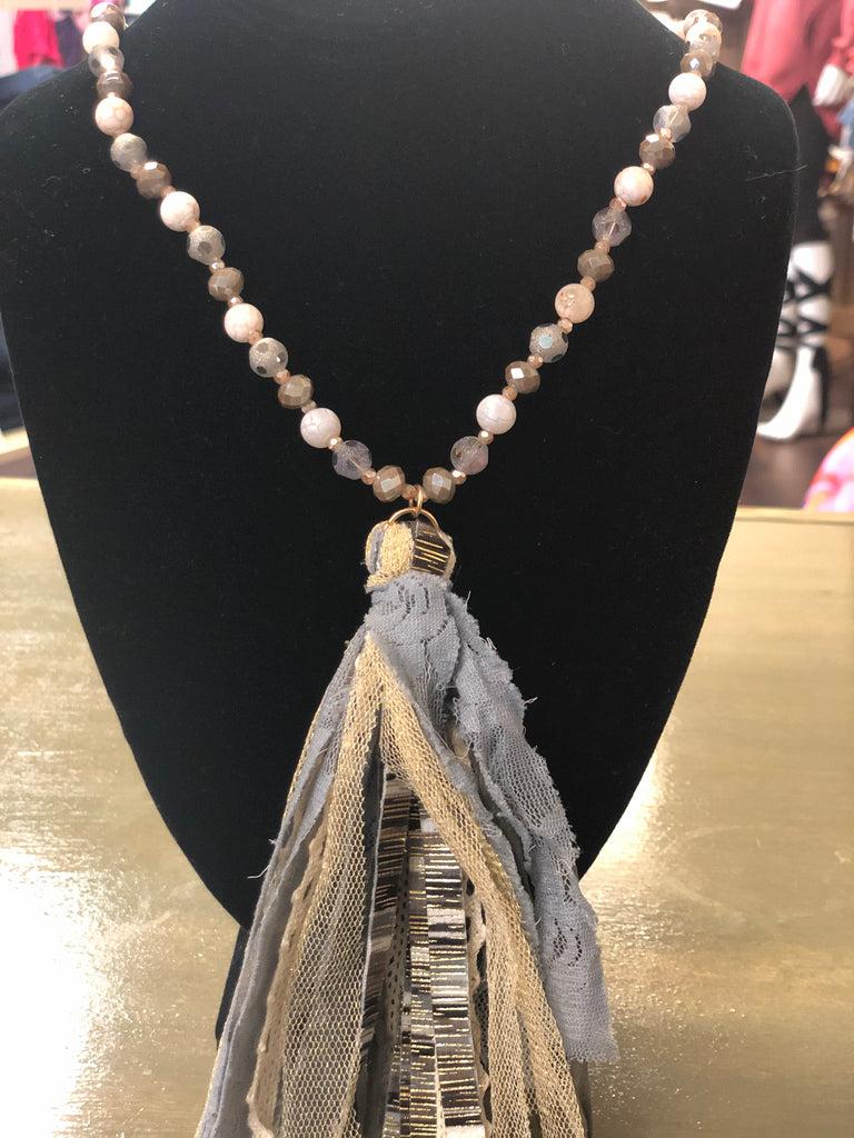 Gray Serape Tassel Necklace