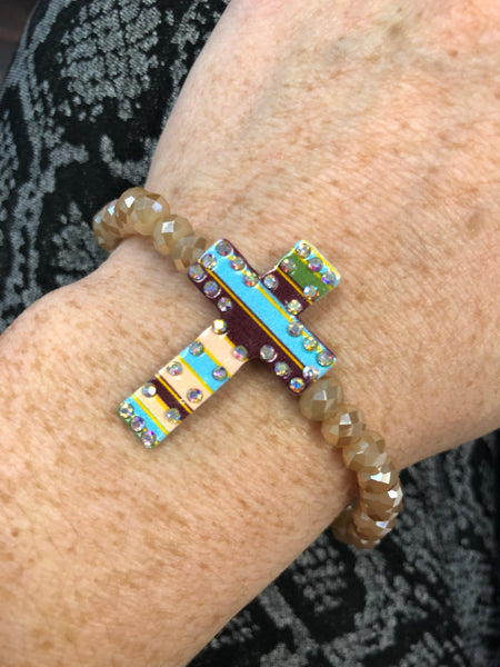 Serape Cross Bead Bracelet