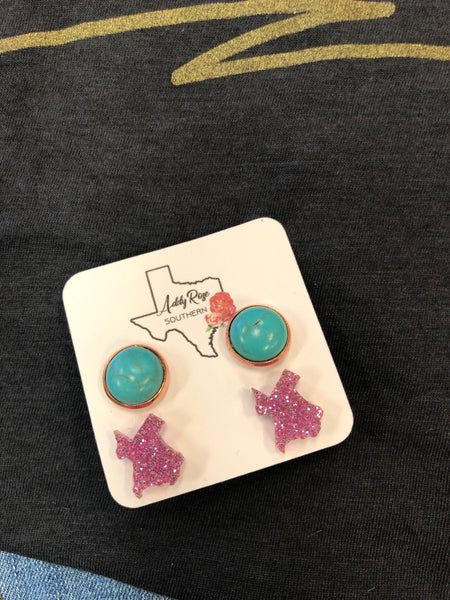 Turquoise & Texas Paired Earring Set
