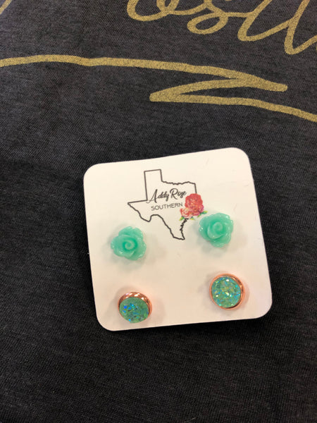 Small Rose & Turquoise Druzy Earring Set