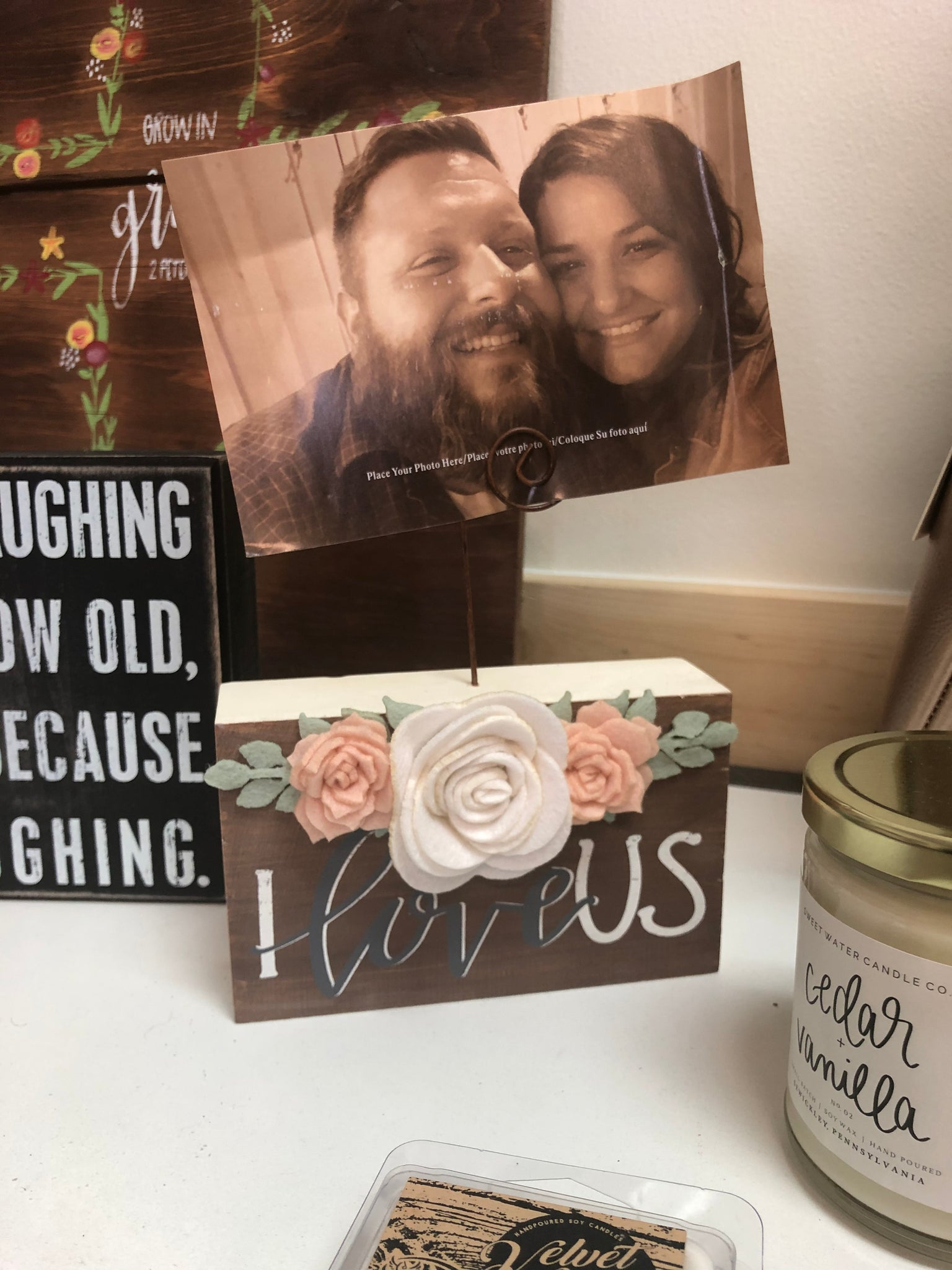 I Love Us Picture Holder Block Frame