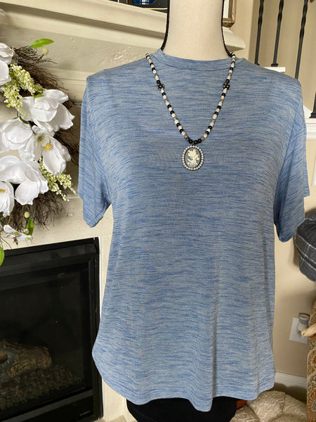 Medium Lightweight Basic Blue Striated T-Shirt