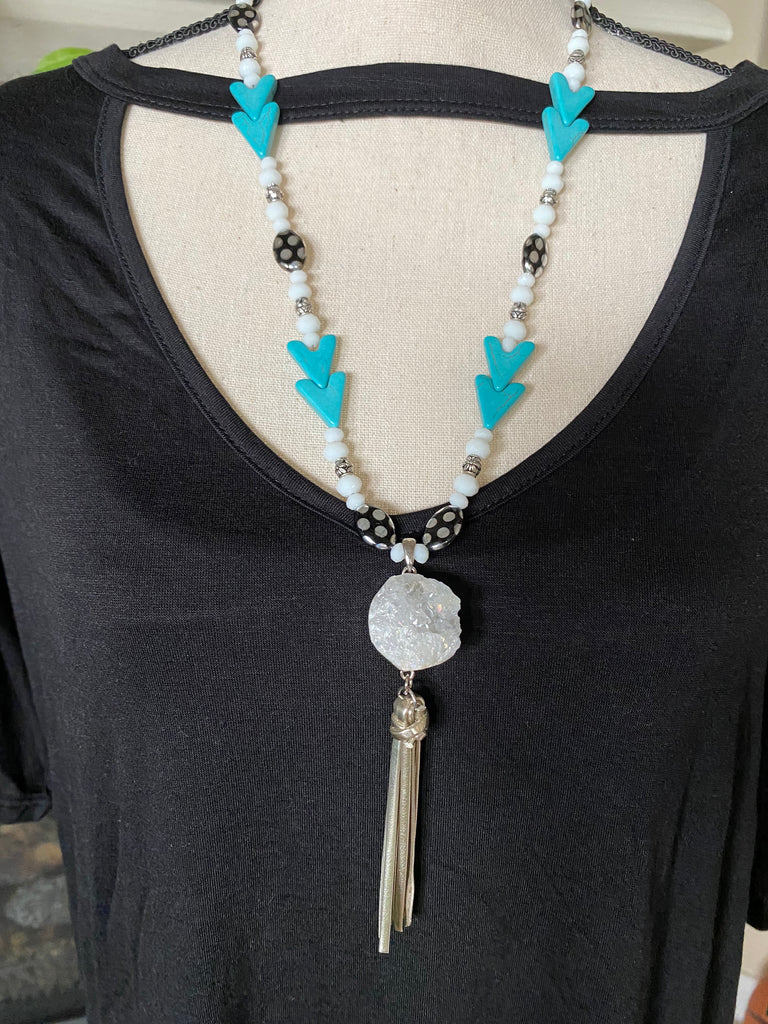 Turquoise Arrow Bead Necklace