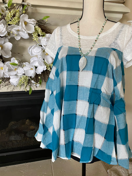 Medium Teathered Blue & Ivory Babydoll Blouse