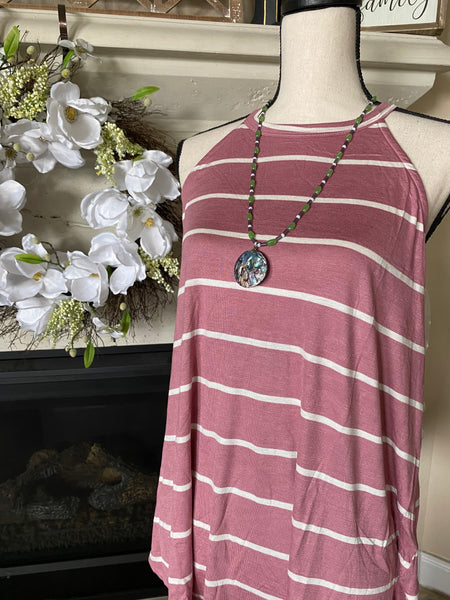 Small Mauve Striped Halter Shirt