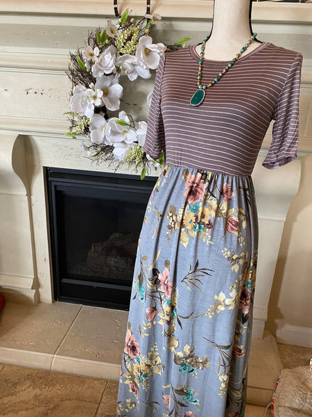 Floral Striped Maxi Dress