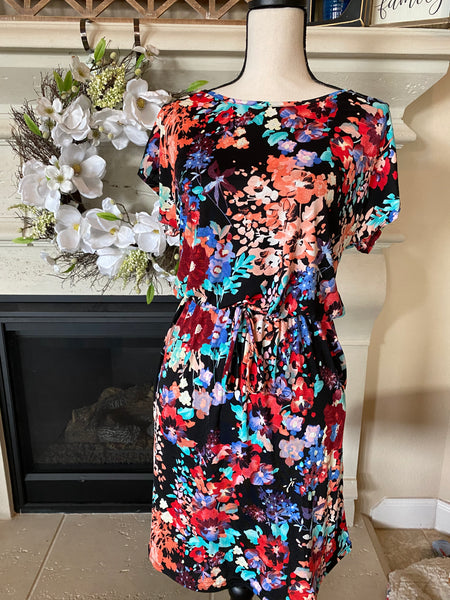 Black Floral Dress w/ Waist Tie