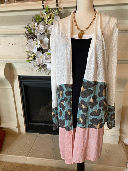 Leopard Color Block Cardigan (Plus Sized)