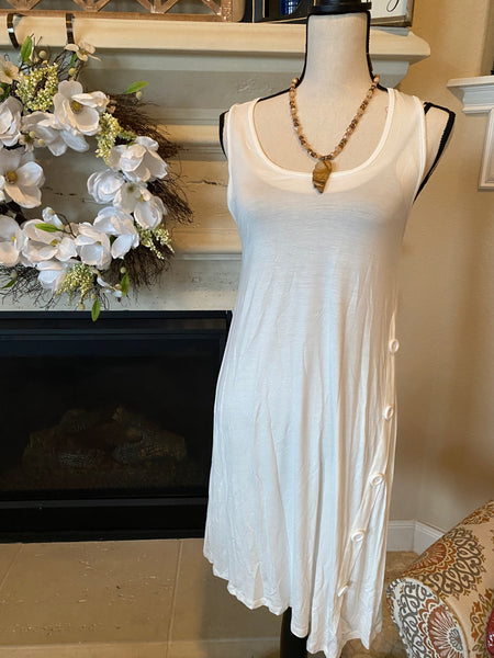 Medium White Tank Dress w/ Side Button Detail