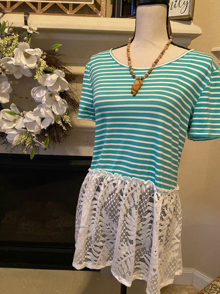Large Lace Hem Green & White Striped Top