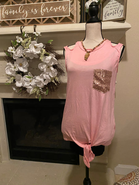 Small Rose Cold Shoulder Tank w/ Glitter Pocket