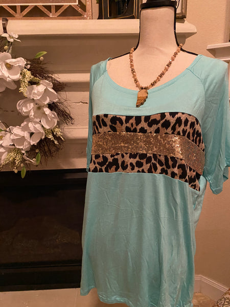 Large Teal & Animal Print Top