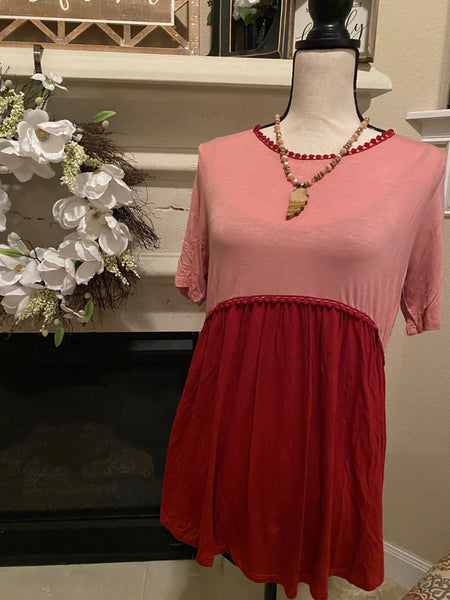 Large Rose & Maroon Babydoll Blouse