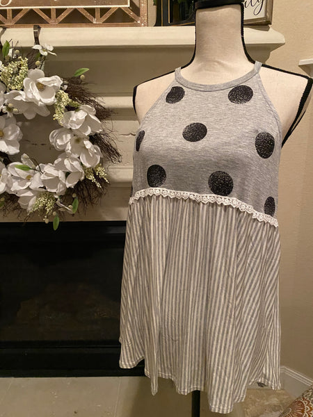 Small Polkadot & Stripe Halter Neck Tank