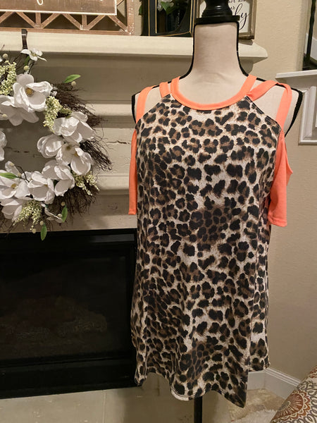 Small Neon & Animal Print Cold Shoulder Top