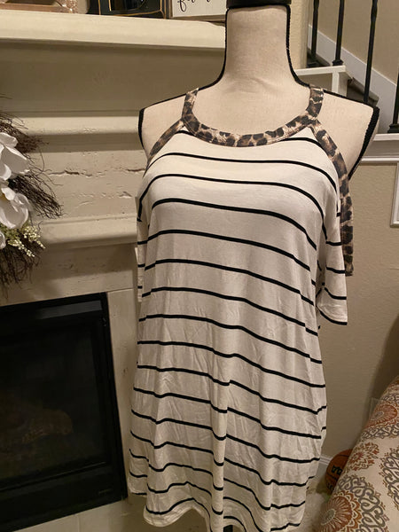 Medium Animal Trimmed Cold Shoulder Top
