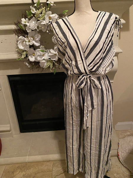 Large V-Neck Striped Jumpsuit