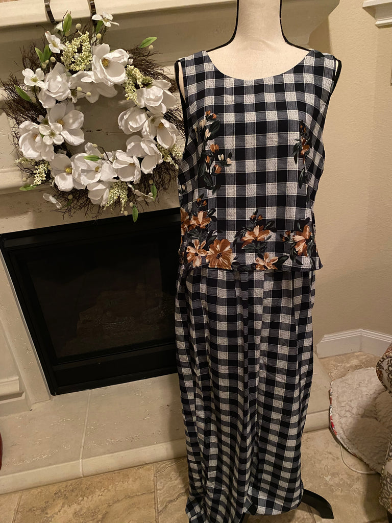 Medium Plaid & Floral Drape Jumpsuit