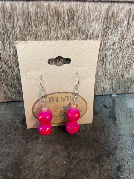 Double Pink & Orange Splatter Bead Earrings