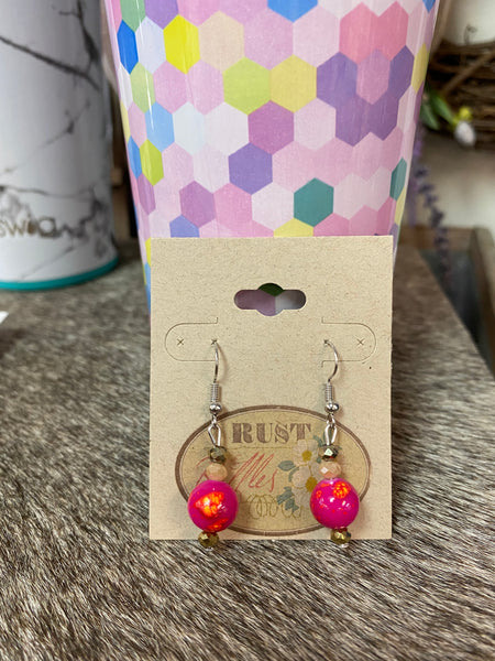 Pink & Orange Spaltter Bead Earrings w/ Bronze
