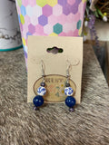 Blue & White Floral Bead Earrings