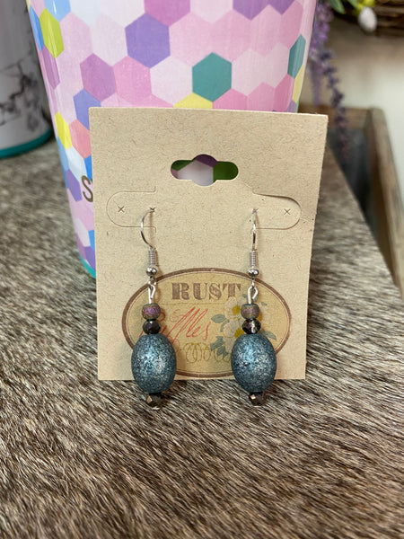 Teal Shimmer Bead Earrings