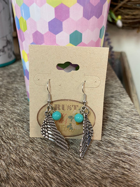 Teal & Angel Wing Charm Earrings