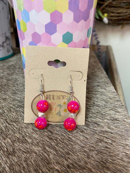 Orange Splatter & Silver Bead Earrings