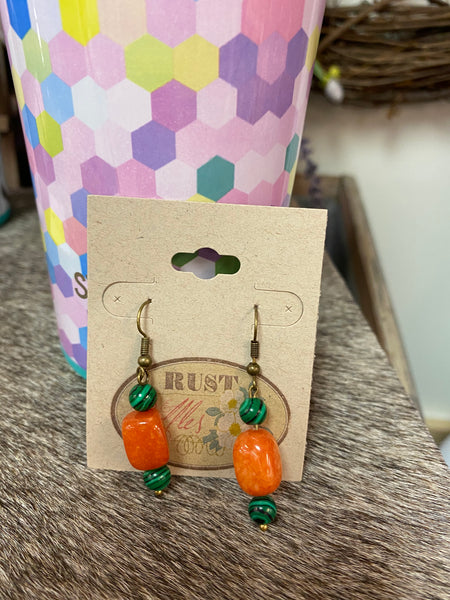 Orange & Green Layered Bead Earrings