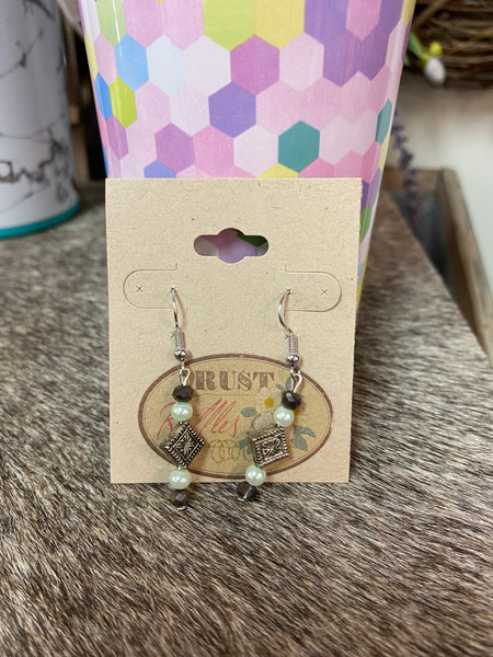 Antique Silver Charm & Green Bead Earrings