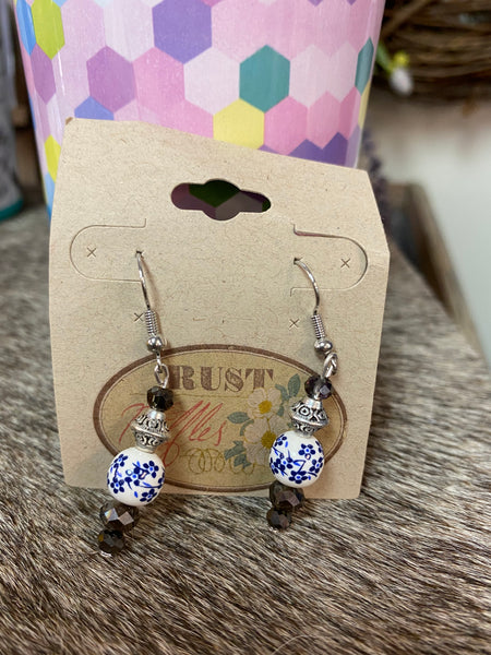 Blue & Black Floral Bead Earrings