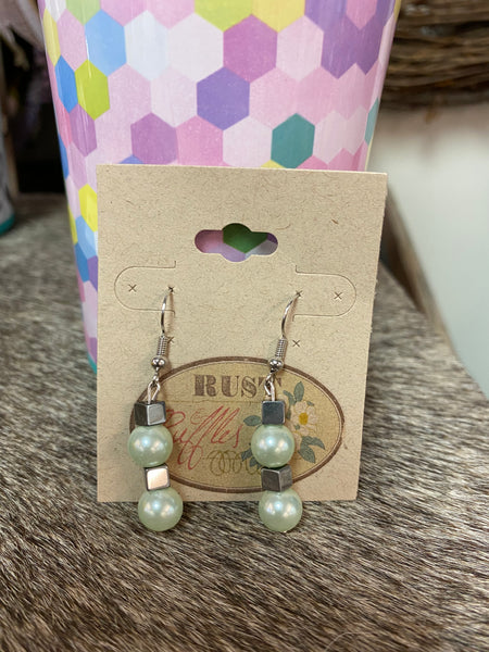 Green & Silver Cube Bead Earrings