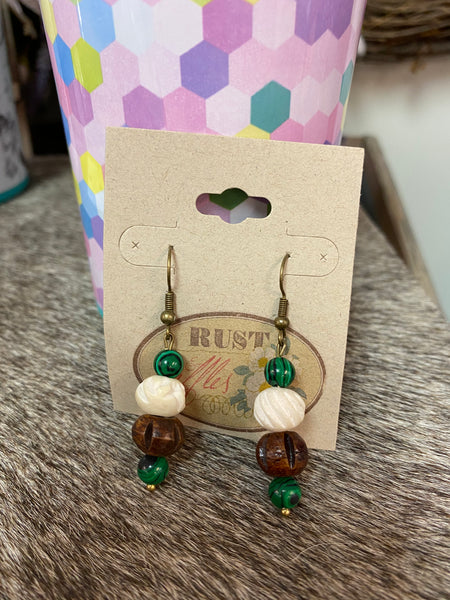 Tri Color Bead Earrings