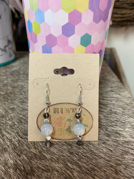 Silver & Opaque Bead Earrings