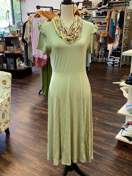 Large Sage Ruffle Sleeve Hem Bamboo Dress
