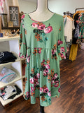 1XL Light Olive Floral Blouse w/ Cross Straps