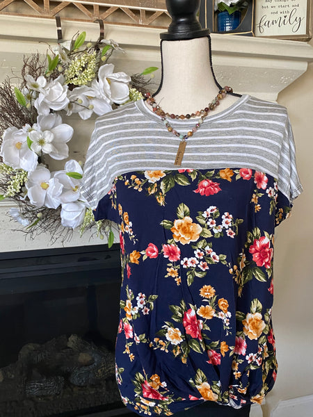 Floral & Stripe Gathered Hem Top