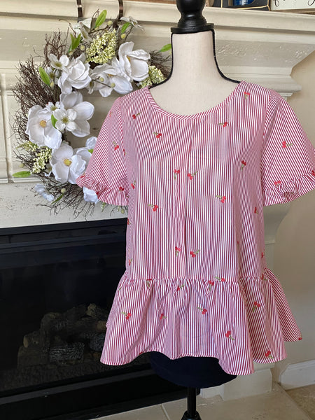 Ruffle Hem Blouse: Stripes & Cherry Embroidery