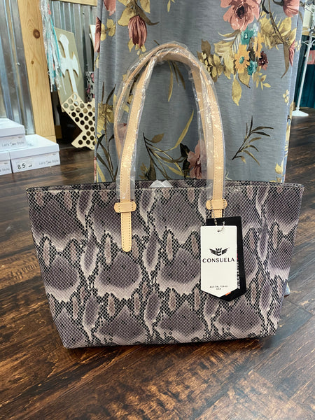 East-West Tote: Flynn Grey Snake